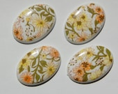 Vintage Yellow and Orange Floral Plastic Cabochon 25mm x 18mm cab009