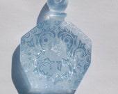 Vintage Blue Etched Faux Perfume Lucite Bottle Pendant pnd064A