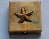 Vintage Brass Starfish Embellished Pill or Stash Box mtl227D
