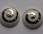Vintage Chunky Gold and White Round Swirl Cabochon 33mm (2) cab145E