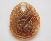 Vintage Style Swirled Brown Marbled Oval Acrylic Pendant pnd034A