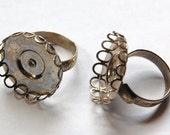 Vintage Silver Filigree Ring Blank 22mm Round Adjustable mtl096