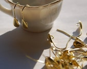 Raw Brass Fishhook Earwires with Teardrop Adornment (12) fnd010L