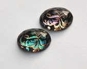 Vintage Paisley Faceted Domed Cabochon Japan 18mm X 13mm cab407A