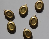 Vintage Small Raw Brass Oval Lockets with 8x6mm Setting lkt003H