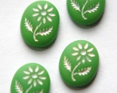 Vintage Green Glass with White Etched Flower Cabochon cab576X