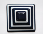 Vintage Bulls Eye Striped Blue and White Cabochon cab037