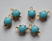 Vintage Light Blue Glass Stone in 2 Loop Brass Setting Drops rnd001E2