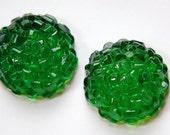 Vintage Green Textured Bumpy Top Acrylic Cabochons 30mm cab788L