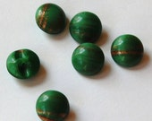 Vintage Green with Goldstone Round Glass Buttons btn014B