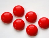 Vintage Opaque Red Glass Cabochons Germany 16mm cab716A
