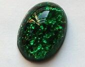 Vintage Emerald Green Opal Glass Cabochon 25mm x 18mm cab439M