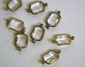 2 Loop Vintage Clear Acrylic Faceted Channel Set Drops chr159H