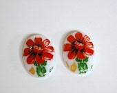 Vintage Glass Cabochon Germany Red Flower on White 18x13mm cab684B