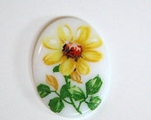 Vintage Glass Cabochon Germany Yellow Flower on White 25x18mm cab684