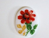 Vintage Glass Cabochon Germany Red Flower on White 25x18mm cab684A