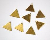 1 Hole Raw Brass Flat Triangle Charms Drops (8) mtl202B