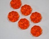 Vintage Tangerine Orange Swirled Flower Like Acrylic Cabochon 13mm cab383A