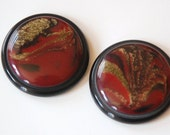 Vintage Black Red and Gold Swirled Acrylic Cabochons 30mm cab639A