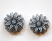 2 Tone Gray Double Layered Acrylic Flower Cabochon cab850C