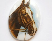Vintage Brown Horse Glass Cameo 40x30mm Germany cab748D
