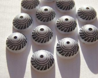 Vintage Black on White Etched Bead Caps bds425C