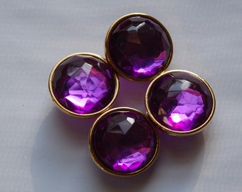 Amethyst Round Faceted Lucite Channel Set Beads Japan bds994B