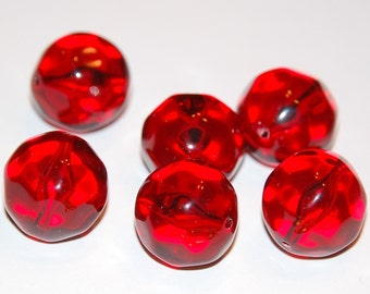 Vintage Red Smooth Faceted Lucite Beads 18mm bds901
