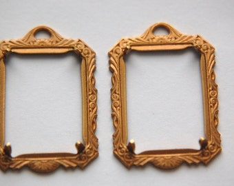 Victorian Style Brass Picture Frame Pendant Prong Setting (2) mtl291