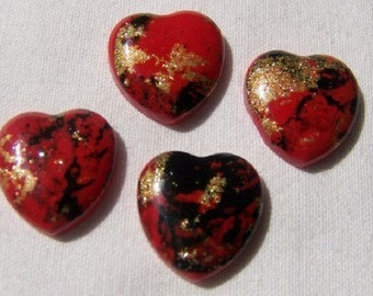 Vintage Retro Bold Red Black and Gold Heart Cabochon Cabs cab007