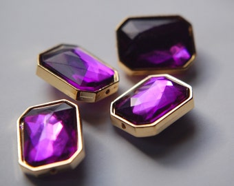 Amethyst Faceted Lucite Channel Set Beads Japan bds991A