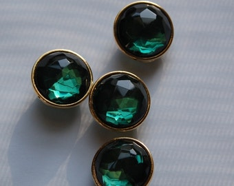 Emerald Green Round Faceted Lucite Channel Set Beads 20mm Japan bds995D