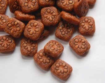 Vintage Style Antiqued Brown Etched Tablet  Beads bds380J