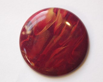 Vintage Burgundy Red and Gold Cabochons Italy 45mm cab674D
