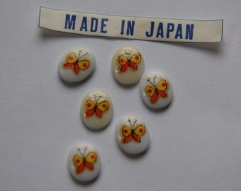 Vintage Orange Butterfly Glass Cabochons Japan 10mmx 8mm (6) cab421N