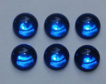 Vintage West German Sapphire Blue Glass Cabochons 11mm (6) cab2005L