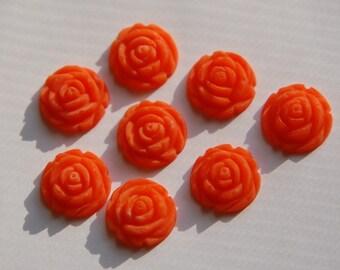Vintage Style Matte Orange Rosebud Flower Cabochons 15mm cab464G