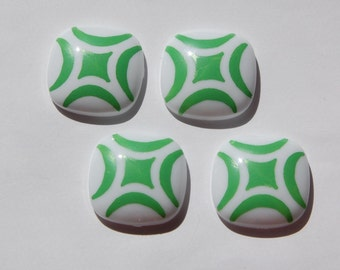 Vintage German White Square Cabochon with Green Design cab666B