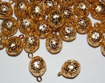 Slightly Oval Brass Filigree Beads With Loop Charm Drop drp011