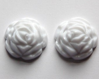 White Etched Flower Cabochon 26mm cab465C