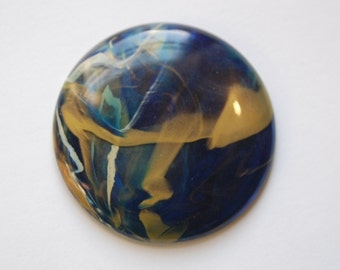 Vintage Blue Green Gold Cabochon Italy 45mm cab674C