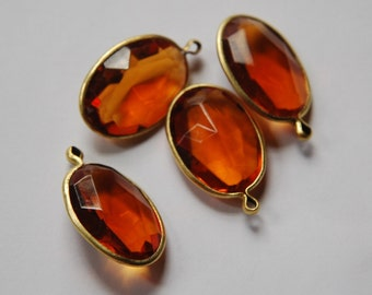 1 Loop Brass Channel Set Faceted Topaz Oval Acrylic Charms chr162