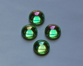 Vintage West German AB Green Domed Cabochons 13mm (4) cab396A