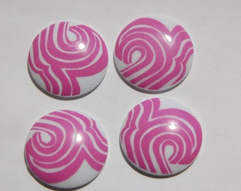 Vintage Mod Pink and White Cabochons 30mm cab417E