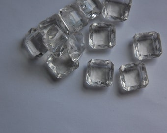Vintage Puffy Square Clear Acrylic Faceted Drop Beads    bds849