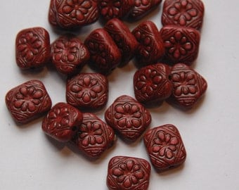 Vintage Style  Brown Etched Tablet  Beads bds380M