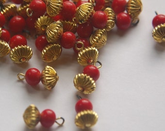Vintage Red Glass Beads with Pleated Melon Brass Bead Drops drp003