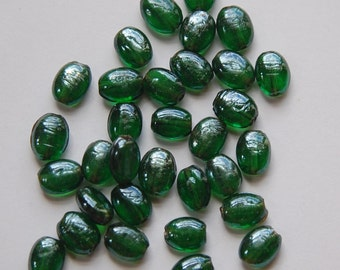 Vintage Green AB Iridescent Glass Beads bds429
