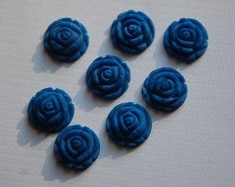 Vintage Style Matte Blue Rosebud Flower Cabochons 15mm cab464I
