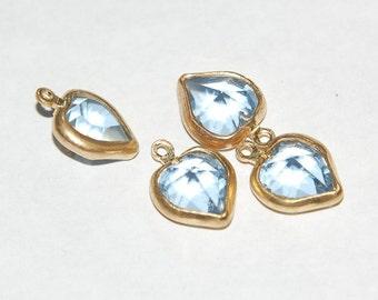Brass Set Light Sapphire Blue Glass Faceted Heart Charms chr116A